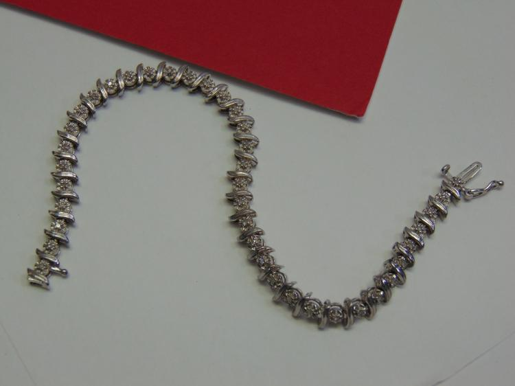Modern 11.6g Sterling Diamond Tennis Bracelet