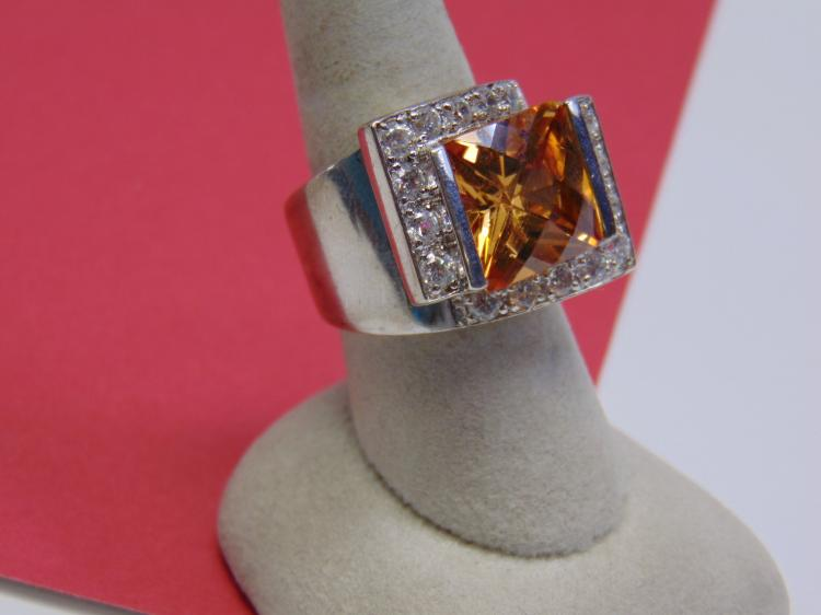Modern 18g Sterling Orange CZ Ladies Ring Size 8