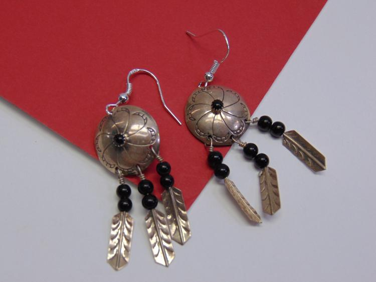 Sterling Navajo Stamped Concho Dangle Earrings