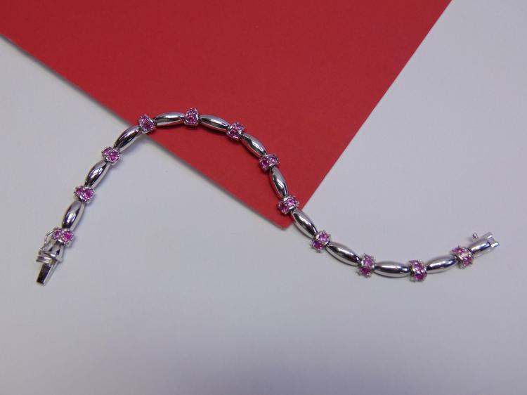 Modern 15g Sterling Silver Pink CZ Tennis Bracelet