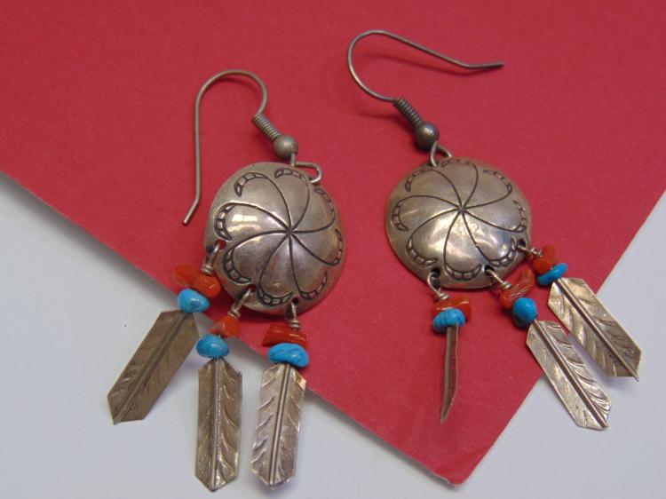 Vintage Sterling Navajo Stamped Concho Earrings