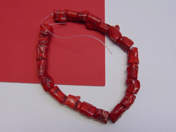 Natural Red Coral Bead Strand