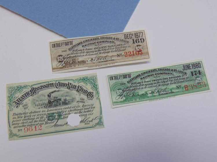 Vintage Railroad Bond Lot Of 3