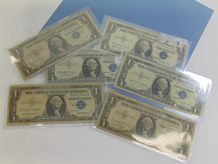 1957 1 Dollar Silver Certificate Lot Of 6