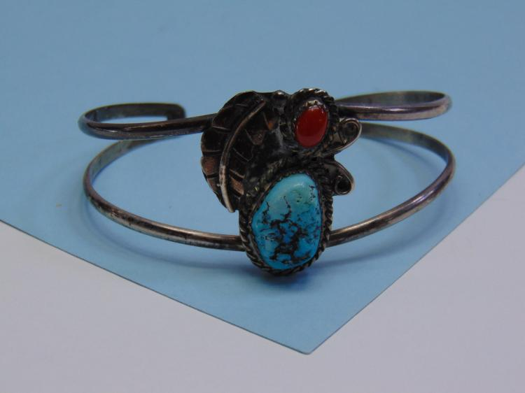 Vintage 12.4g Sterling Chinese Turquoise Bracelet