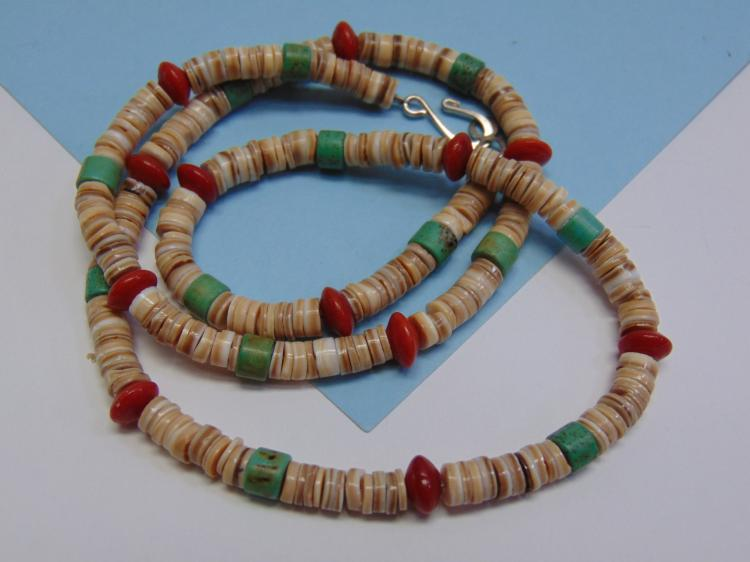 Vintage Shell Turquoise Coral Bead Necklace