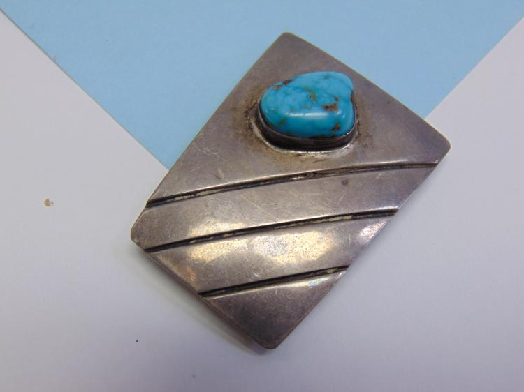 23.6g Sterling Turquoise Signed LC Bolo Tie