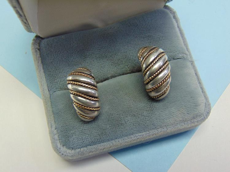 16.6g Sterling 14K Gold Kabana Clip On Earrings