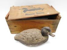 Vintage Cork & Wood Handcrafted Folk Art Duck Decoy With Crate