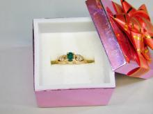 2.6 Gram 14K Yellow Gold Emerald And Chip Diamond Ring Size 6