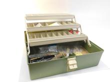 Plano Tackle Box With Floating Fishing Knife Scaler Lures Corkscrew Knife Bobbers Worms