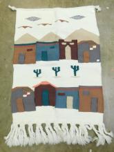 Southwestern Woven Wool Southwestern Adobe And Cactus Desert Scene