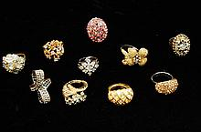 Lot Of 10 Bling Costume Rings
