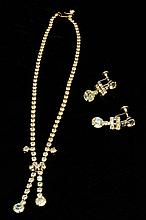 Vintage Costume Rhinestone Necklace & Earrings
