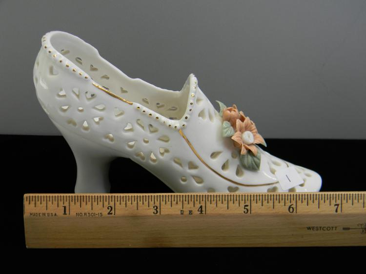 "Lot 1: Pierced Ceramic Decorative ""Flower"" Shoe Vase"