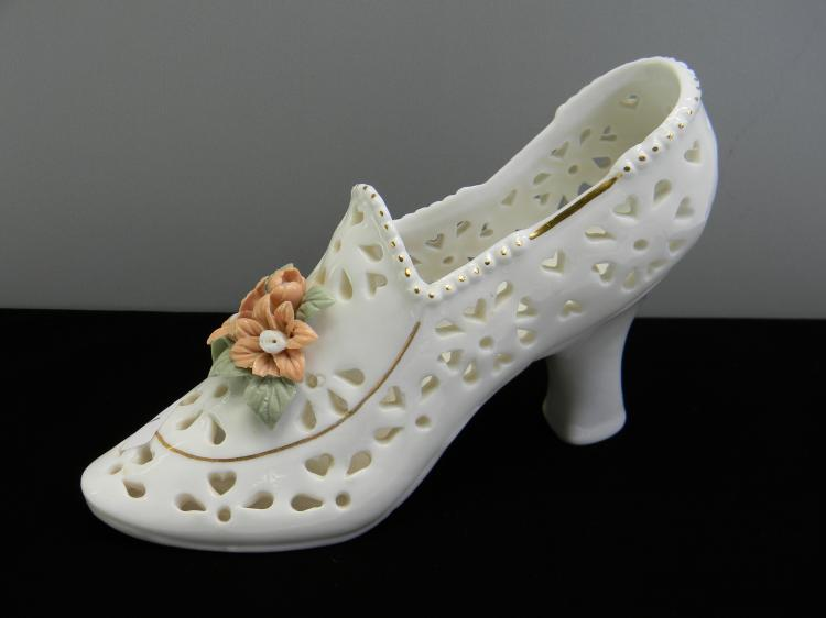"Pierced Ceramic Decorative ""Flower"" Shoe Vase"