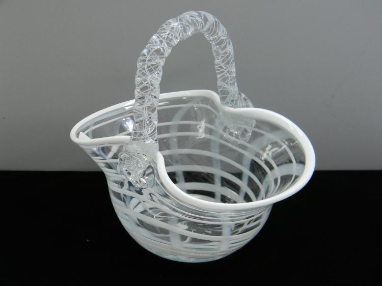 "Decorative Art Glass ""Basket"" Bowl Vase"