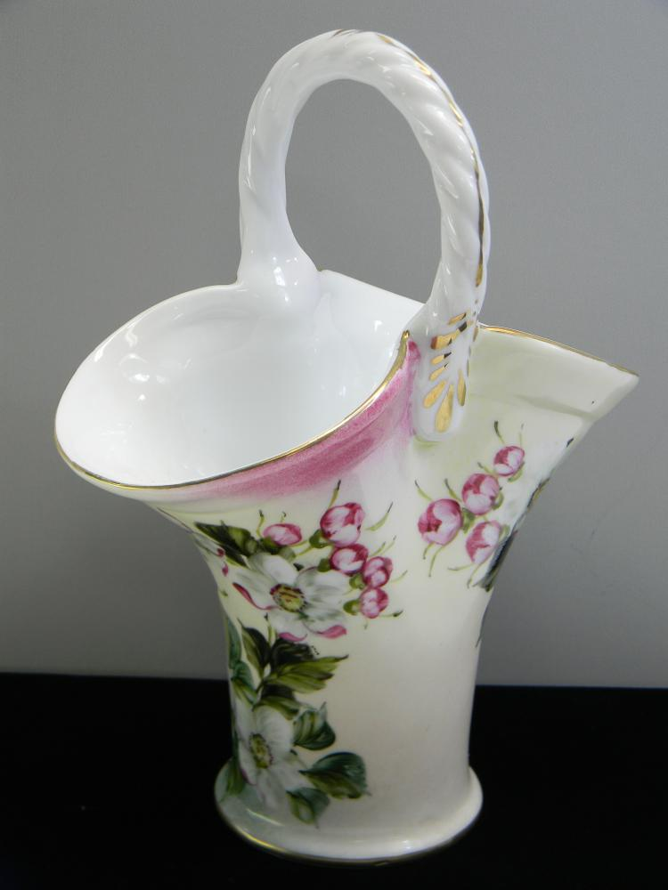 "Vintage Handpainted Ceramic ""Flower Basket"" Vase"