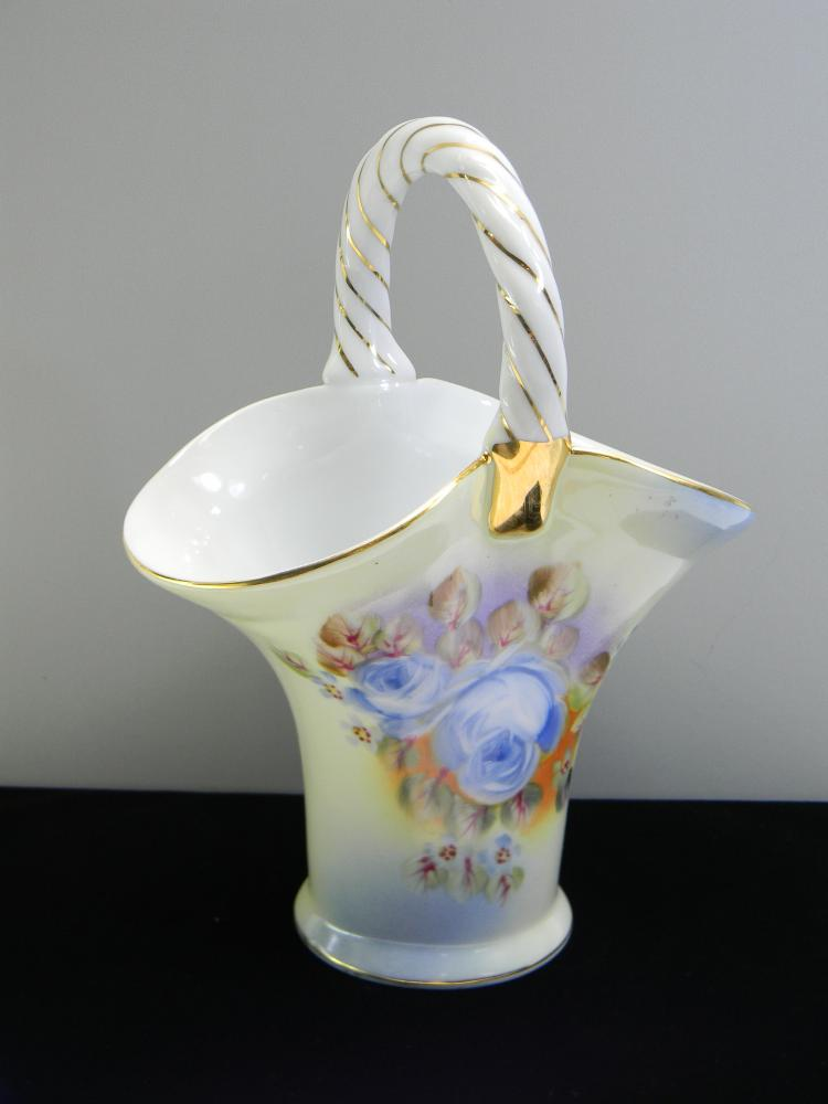 "Vintage Ceramic ""Flower Basket"" Handpainted Vase"