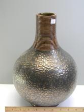 "Lot 7: Decorative ""Brasstone Embossed"" Clay Vase"