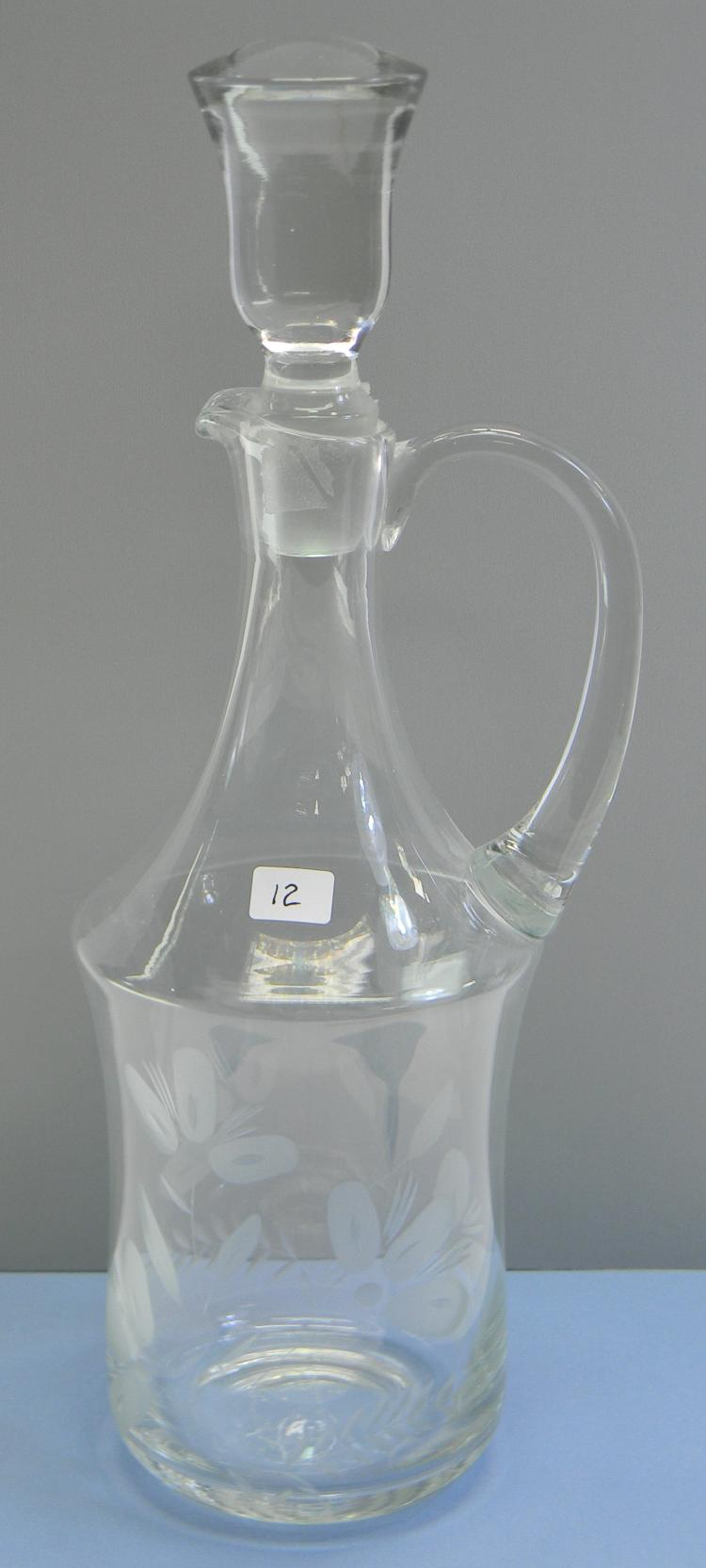 Decorative Etched Handblown Glass Decanter