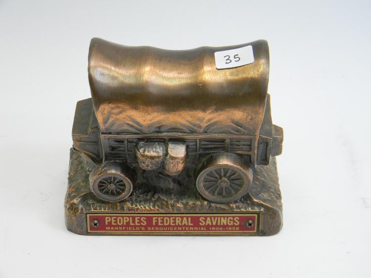 """Peoples Federal Savings"" Covered Wagon Coin Bank"