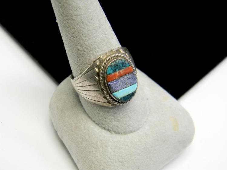 12g Sterling Navajo Stone Inlaid Mens Ring Sz 9.5