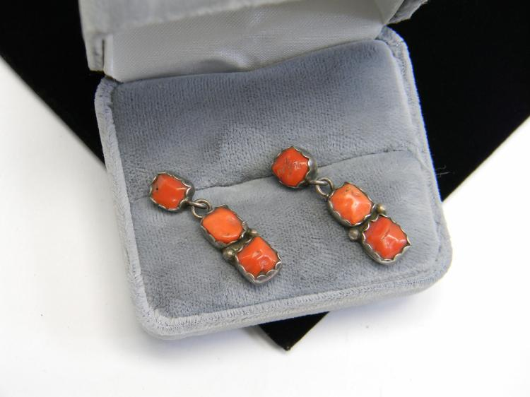 "Vintage Sterling Coral ""Navajo Pawn"" Post Earrings"