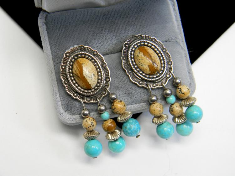 22g Sterling Jasper Turquoise Dangle Post Earrings