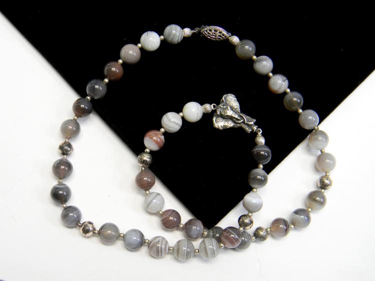 Carved Grey Banded Agate Bead Necklace