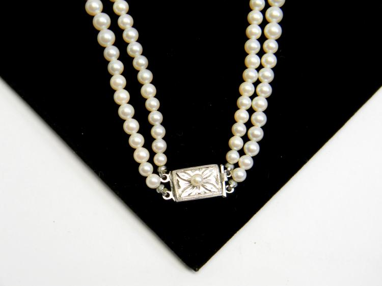 1950's Japan Faux Pearl Strands W/ Silver Clasp