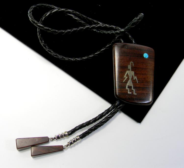 Handmade Sterling Wood & Turquoise Bolo Tie