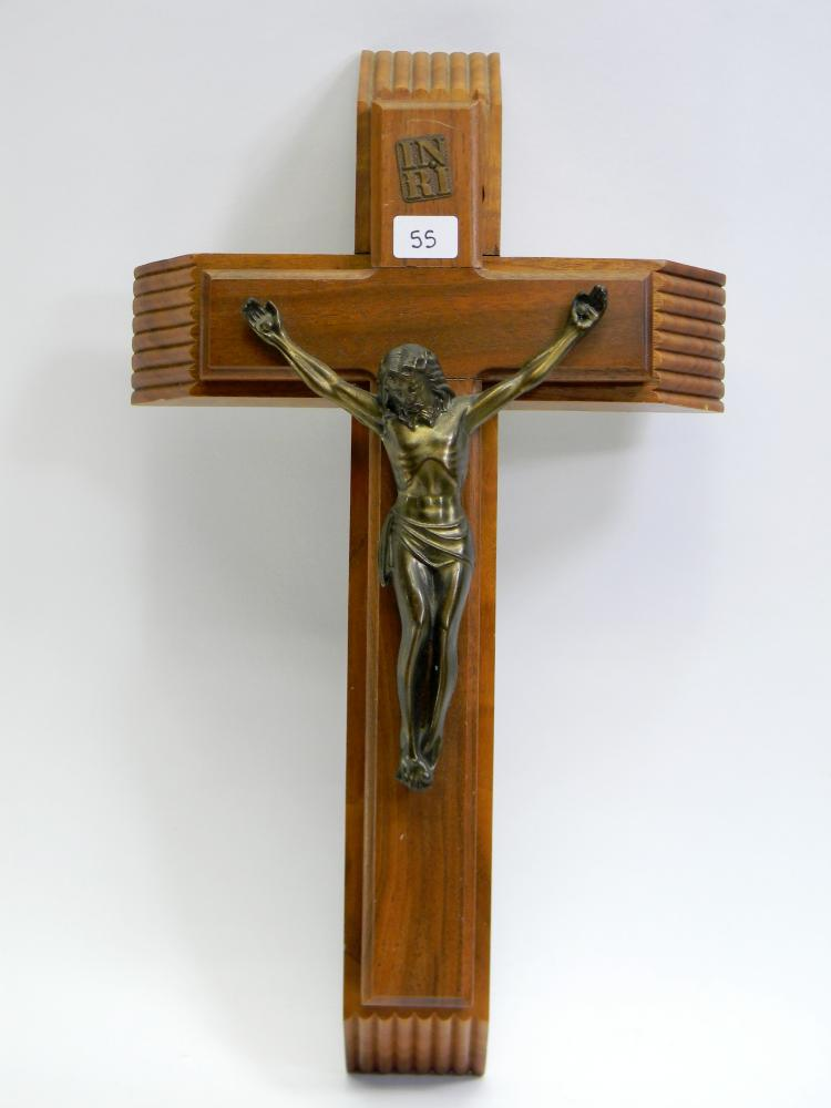 Carved Wood Catholic Crucifix W/ Sacraments