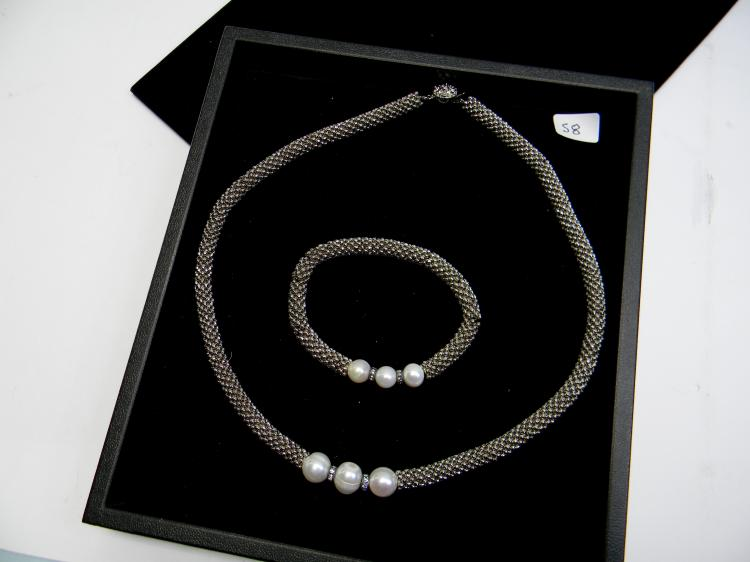 Costume Jewelry W/ Pearls Necklace Bracelet Set