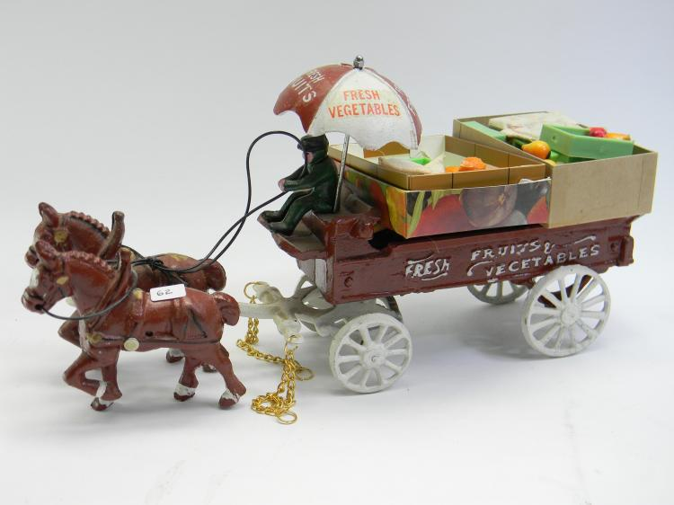 "Cast Iron ""Fruit & Vegetable"" Wagon Figurine"