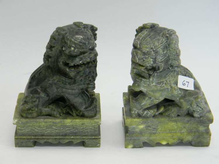 Vintage Carved Jade Foo Dog Figurine Book Ends