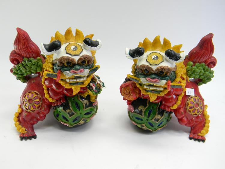 Handpainted Resin Cast Foo Dog Figurines Set Of 2