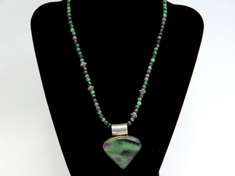 37g Sterling Ruby Zoisite Pendant W/ Bead Necklace