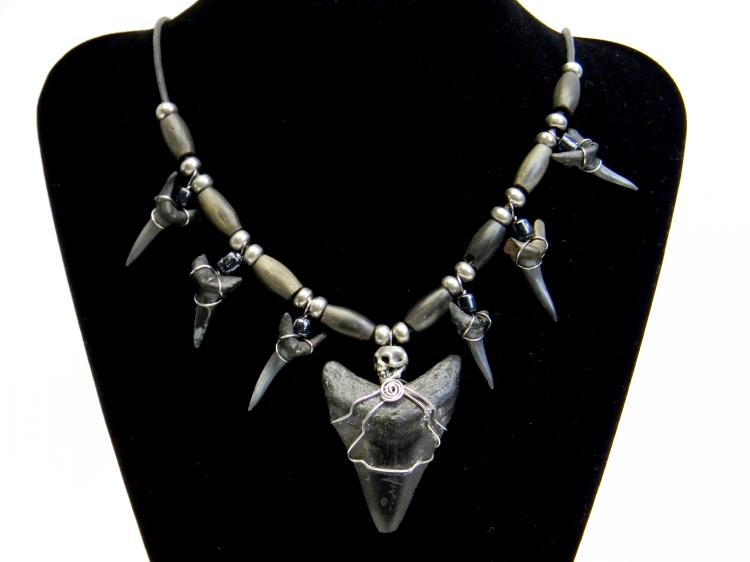 Megalodon Tooth W/ Shark Teeth Necklace