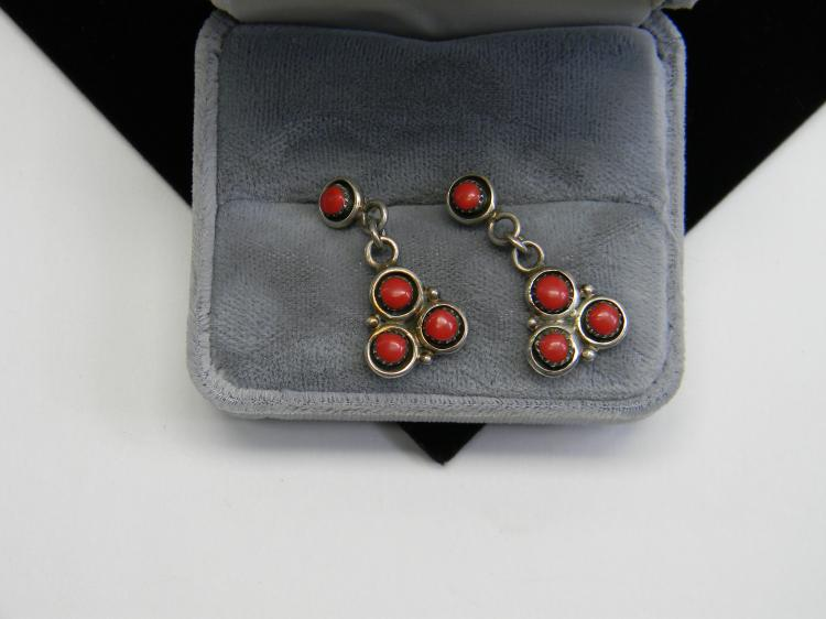 Vintage Navajo Sterling Red Coral Ladies Post Earrings