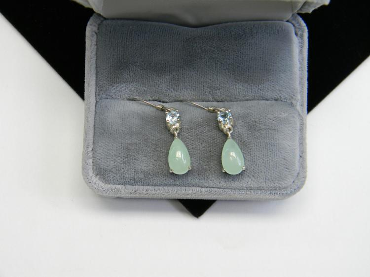 Sterling Green Jade Aquamarine Dangle Earrings