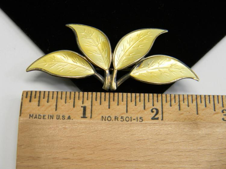 "Vintage 8g Enamel On Sterling ""Leaves"" Brooch"