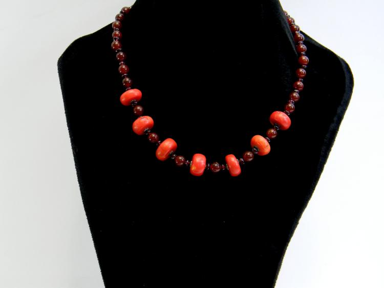 Carnalian & Natural Red Coral Beaded Necklace