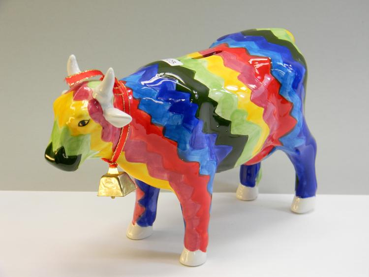 Colorful Painted Ceramic Cow Bank