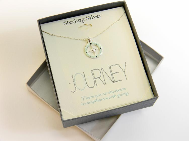 "Sterling Footnotes ""Journey"" Compass Necklace"