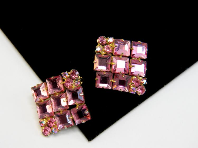 Vintage Pink Rhinestone Ladies Clip-On Earrings