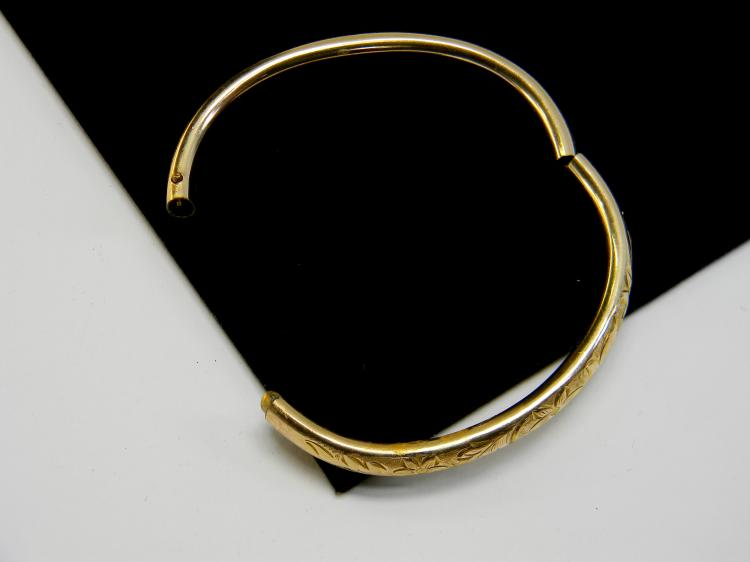 Vintage Gold Filled Etched Bangle Bracelet