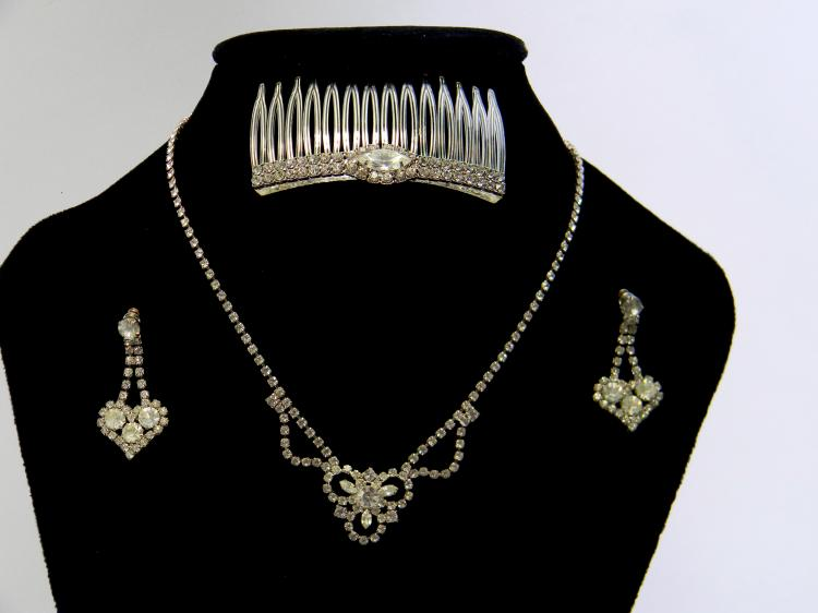 Vintage Rhinestone Necklace Earring & Barette Lot