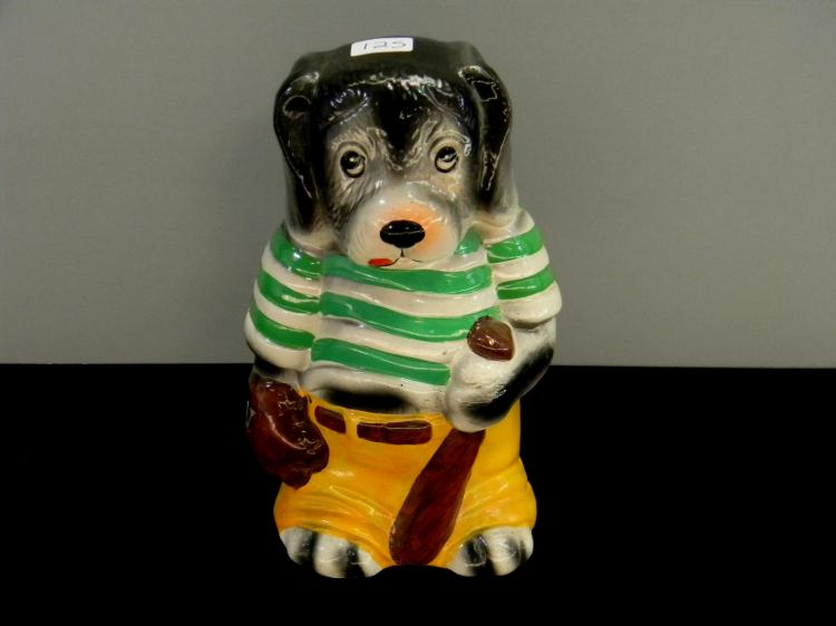 "Vintage Ceramic ""Baseball Dog"" Figurine Bank"