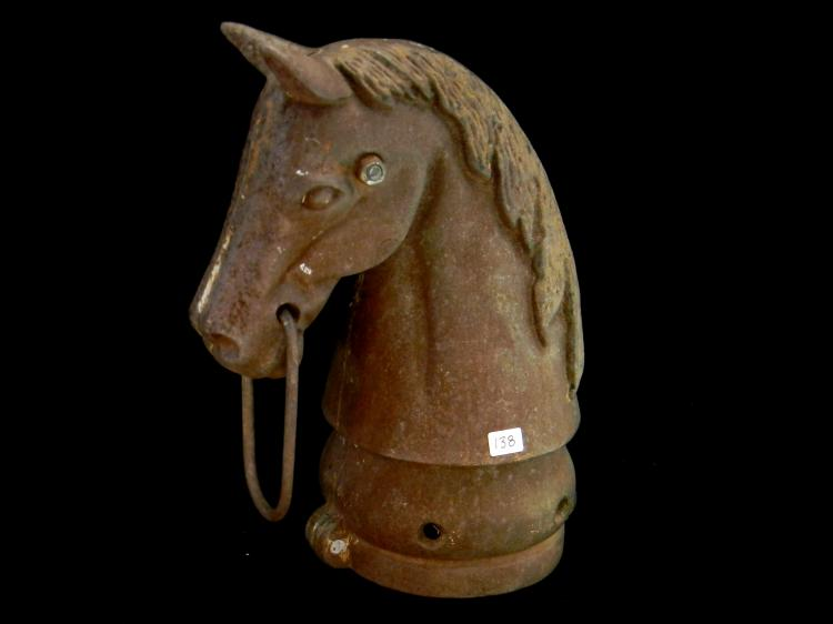 Antique Cast Iron Horse Head For Hitching Post Top